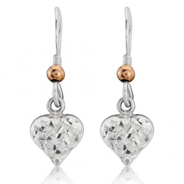 Love Heart Earrings - 9ct Gold Plated Ball