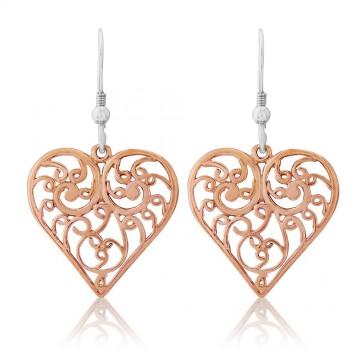 Gold Filigree Heart Earrings