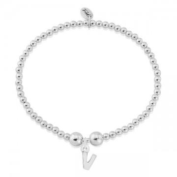 V Letter Charm Bracelet