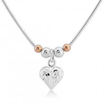 Love Heart Necklace - 9ct Rose Gold-Plated Beads