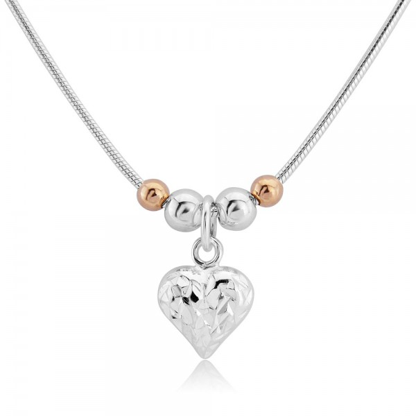Trink Love Heart Sterling Silver & 9ct Rose Gold Plated Beaded Charm Pendant/Necklace XZkHjm