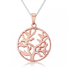 Circle Tree of Life  - 9ct Rose Gold-Plated Necklace