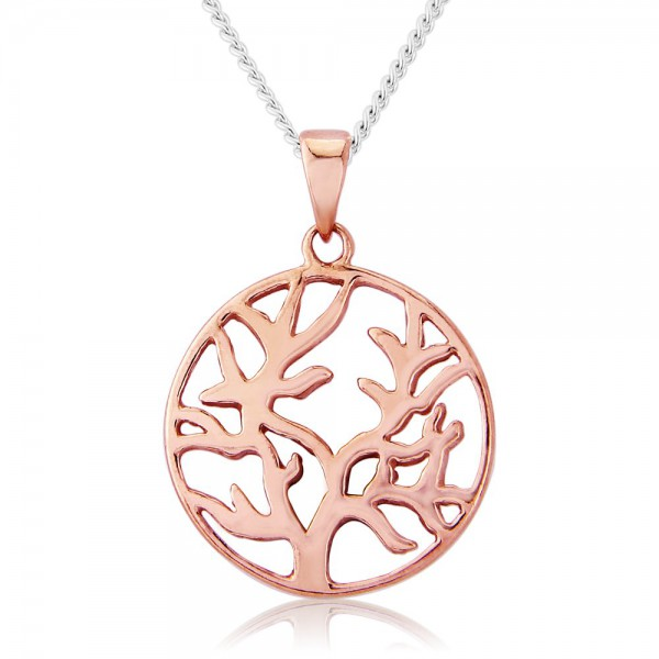 Circle Tree of Life 9ct Rose GoldPlated Necklace